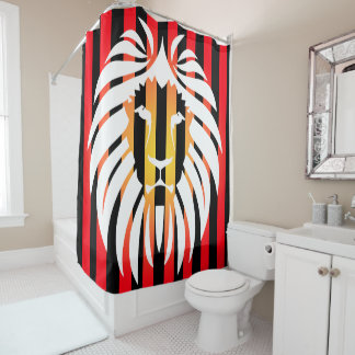 White  Lion Sunset and Stripes Shower Curtain