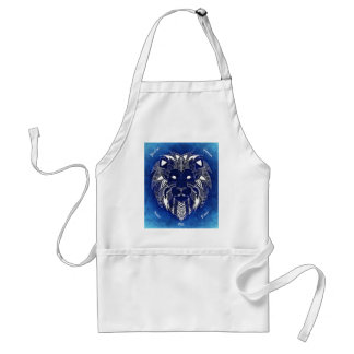 White Lion With Blue Background Ladies Apron
