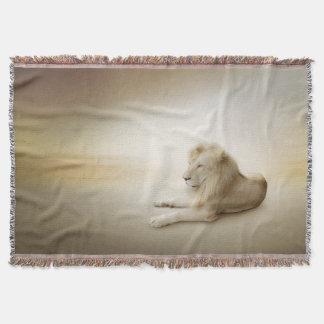 White Lion Woven Throw Blanket