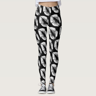 White Lips Modern Black Leggings
