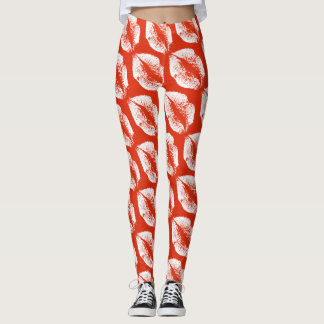 White Lips Modern Orange Red Leggings