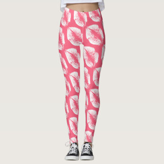 White Lips Modern Pink Leggings