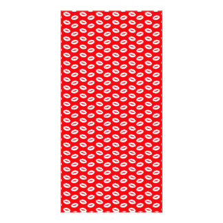 White Lips on Bright Neon Red - White Kisses Photo Card Template