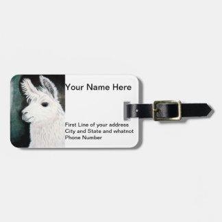 White Llama Luggage Tag