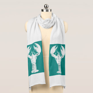 White Lobster on Turquoise / Teal Scarf