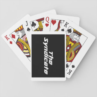 White logo on black card deck