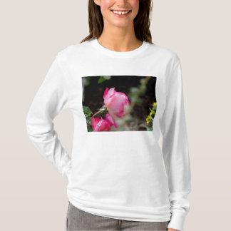 White Long Sleeve Ladies T-shirt with Pink Rose