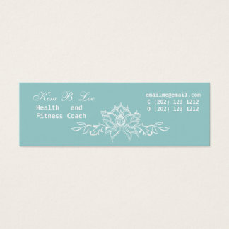 White Lotus Floral on Teal Blue Mini Business Card