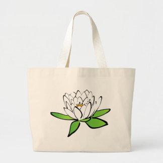 white Lotus Flower Large Tote Bag