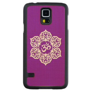 White Lotus Flower Om on Purple Maple Galaxy S5 Slim Case