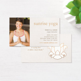 White Lotus Flower Yoga Teacher Photo Beige Business Card