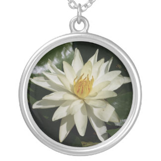 White Lotus Silver Plated Necklace