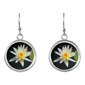 White Lotus Waterlily Earrings