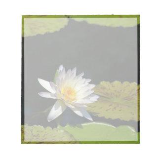 White Lotus Waterlily Flower Notepad