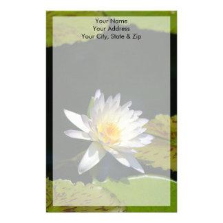White Lotus Waterlily Flower Stationery