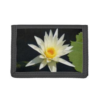 White Lotus Waterlily Tri-fold Wallets