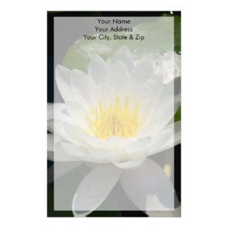 White Lotus Waterllly Flower Stationery