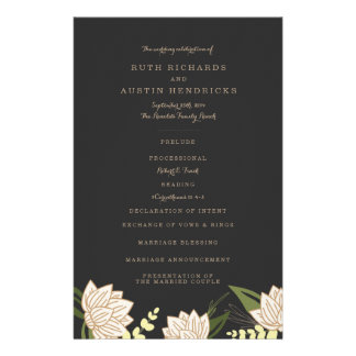 White Lotus Wedding Programs 14 Cm X 21.5 Cm Flyer