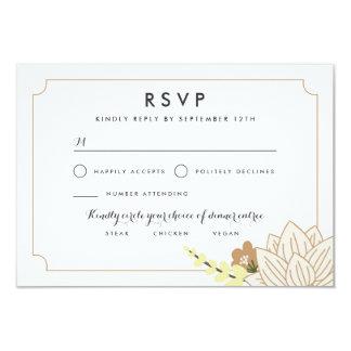 white Lotus Wedding RSVP 9 Cm X 13 Cm Invitation Card