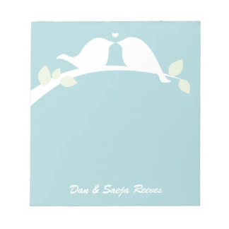 White Love Birds Notepad