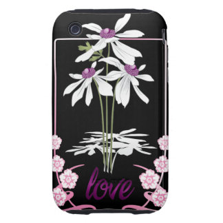 White Love Daisies Tough iPhone 3 Covers