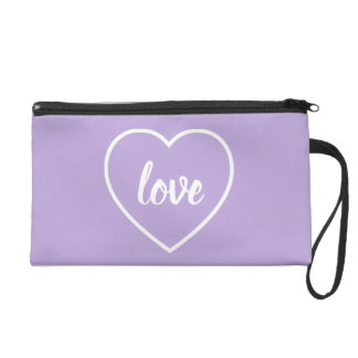 White Love Heart on Cottage Lavender Personalized Wristlet