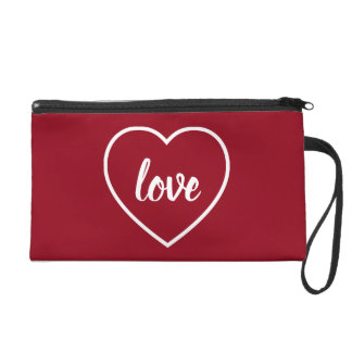 White Love Heart on Red Personalized Wristlet