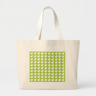 White Love Hearts on Lime Green Canvas Bag