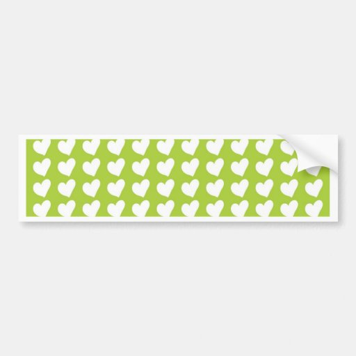 White Love Hearts on Lime Green Bumper Stickers