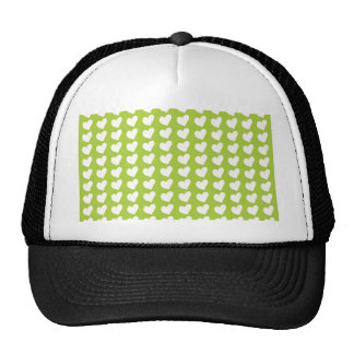 White Love Hearts on Lime Green Cap