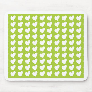White Love Hearts on Lime Green Mousemats