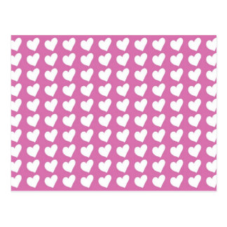 White Love Hearts on Mid Pink Post Cards