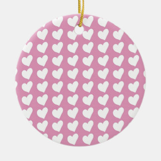 White Love Hearts on Pale Baby Pink Christmas Tree Ornaments
