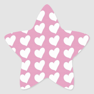 White Love Hearts on Pale Baby Pink Stickers