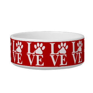 White LOVE Word Dog Paws Pattern On Red Background Bowl