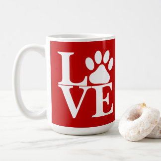 White LOVE Word Dog Paws Pattern On Red Background Coffee Mug