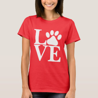 White LOVE Word Dog Paws Pattern On Red Background T-Shirt