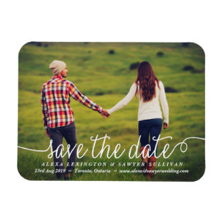 White Lovely Calligraphy Photo Save the Date Rectangular Photo Magnet