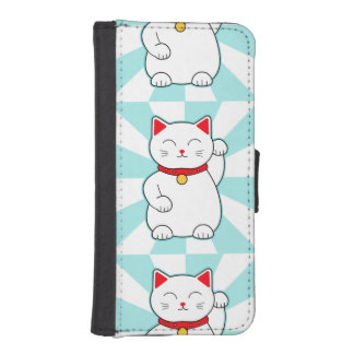 White Lucky Cat Phone Wallets