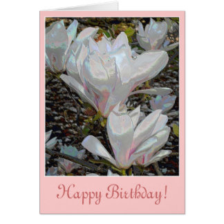 White Magnolia Blossoms Birthday Card