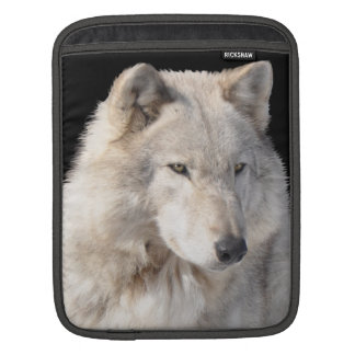 White Male Grey Wolf Wildlife iPad Sleeve
