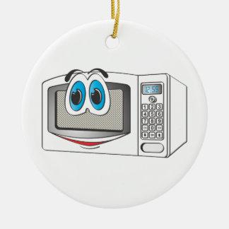 White Male Microwave Cartoon Round Ceramic Decoration