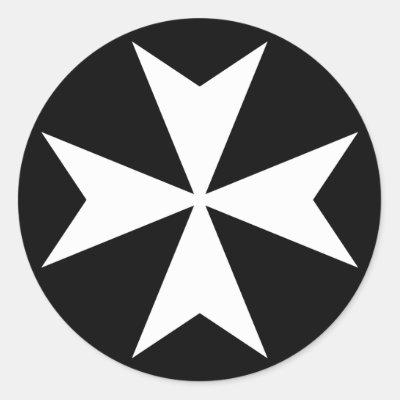 Black Maltese Cross On Black Background Classic Round Sticker