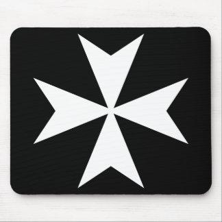 White Maltese Cross Mouse Pad
