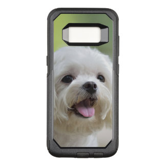 White maltese dog sticking out tongue OtterBox commuter samsung galaxy s8 case