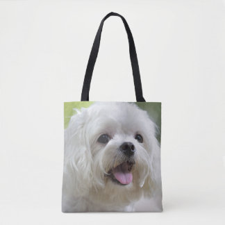 White maltese dog sticking out tongue tote bag