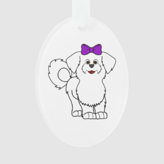 White Maltese with Purple Bow Ornament
