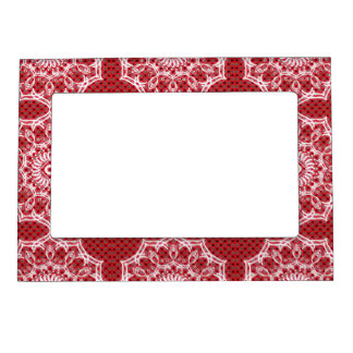 White Mandala on Mosaic Red Pattern Magnetic Frame