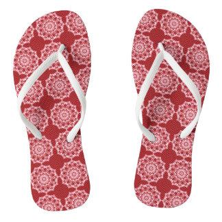 White Mandala on Mosaic Red Pattern Thongs