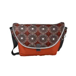 White  Mandala Pattern On Brown Courier Bag